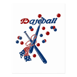 Vintage Baseball Stars and Stripes Postcard
