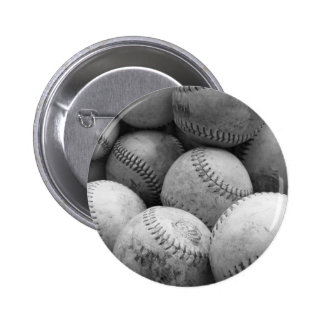 Vintage Baseballs in Black and White Pinback Button