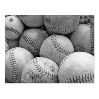 Vintage Baseballs in Black and White Postcard