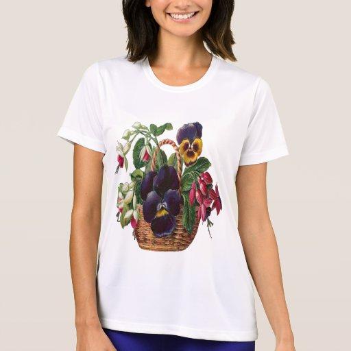 Vintage, Basket of Flowers Tee Shirt
