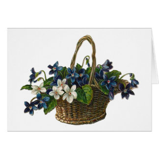 Vintage Basket of Violets Card