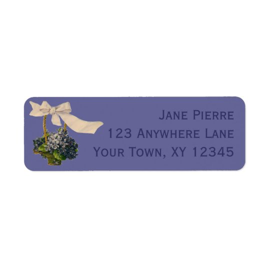 Vintage Basket of Violets Return Address Label