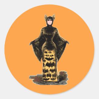 Vintage Bat Costume Classic Round Sticker