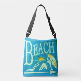 vintage bathing beauty beach sign crossbody bag