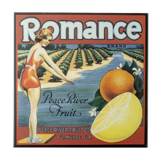 Vintage Bathing Beauty fruit crate label art tile