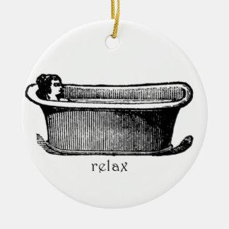 Vintage Bathtub Relax stamp Ceramic Ornament