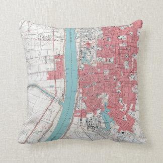 Vintage Baton Rouge Riverfront Throw Pillow