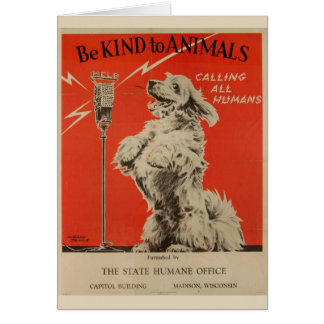Vintage - Be Kind to Animals - Announcement, Card