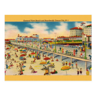 Vintage Beach and Boardwalk Ocean City NJ Postcard
