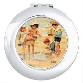 Vintage Beach Children Sand Ocean Vanity Mirror