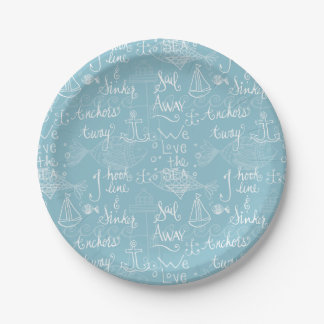 Vintage Beach Cottage Style Paper Plates 7 Inch Paper Plate