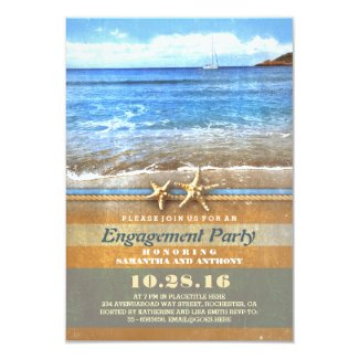 Vintage beach engagement party invitations