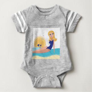 Vintage beach girl blue baby bodysuit