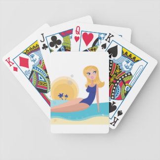 Vintage beach girl blue bicycle playing cards