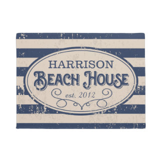 Vintage Beach House Personalized Navy Blue Doormat