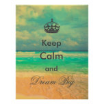 """vintage beach """"Keep Calm and Dream Big"""" quote Poster"""