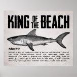 Vintage Beach King Shark Definition Poster