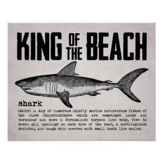 Vintage Beach King Shark Definition Poster