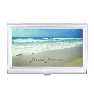 Vintage Beach Personalized Name Business Card Cases
