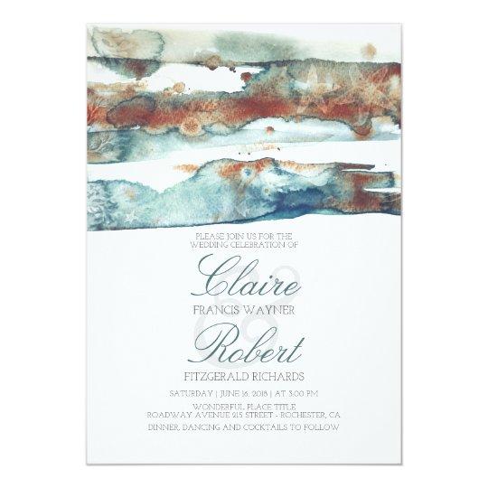 Vintage Beach Underwater Watercolor Splash Wedding Card