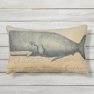 Vintage Beach Whale Outdoor Patio Lumbar Outdoor Pillow