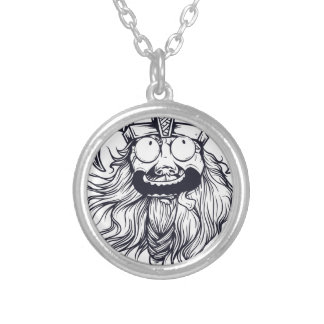 vintage bearded human silver plated necklace