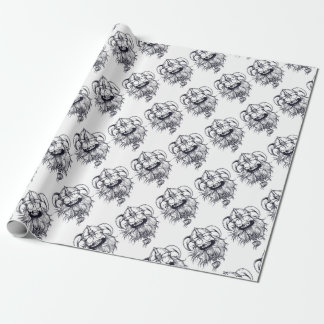 vintage bearded human wrapping paper