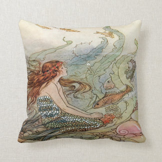 Vintage Beautiful Girly Mermaid Under The Sea Throw Pillow