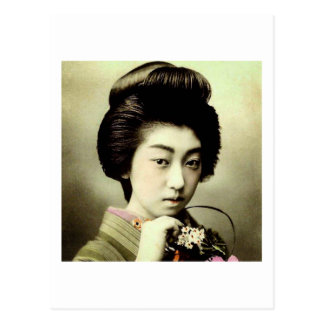 Vintage Beautiful Japanese Geisha Posing Old Japan Postcard