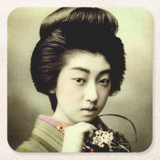Vintage Beautiful Japanese Geisha Posing Old Japan Square Paper Coaster