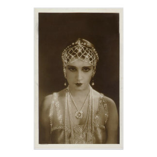 Vintage Beautiful Woman With Pearls Poster