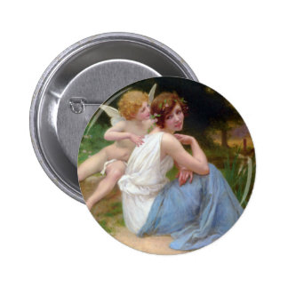 Vintage Beauty and Cupid Painting 2 Inch Round Button