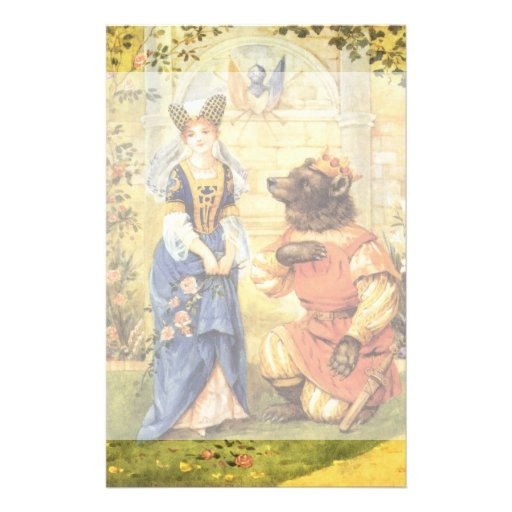 Vintage Beauty and the Beast Fairy Tale Stationery Paper