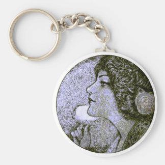 Vintage Beauty Basic Round Button Keychain