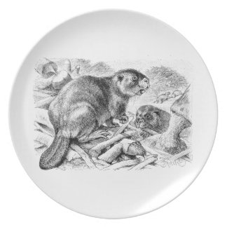 Vintage Beaver Illustration Retro Beavers and Dam Plate