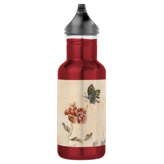 Vintage Bee, Butterfly and Poppy Watercolor 532 Ml Water Bottle