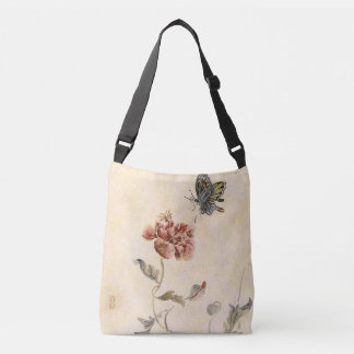 Vintage Bee, Butterfly and Poppy Watercolor Crossbody Bag