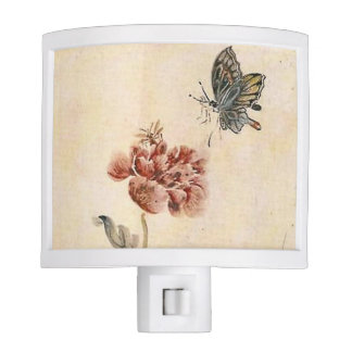 Vintage Bee, Butterfly and Poppy Watercolor Nite Lite