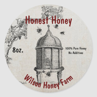 Vintage Bee Hive Honey Business Jar Label Sticker