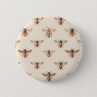 Vintage Bee Illustration Pattern 2 Inch Round Button