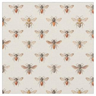 Vintage Bee Illustration Pattern Fabric