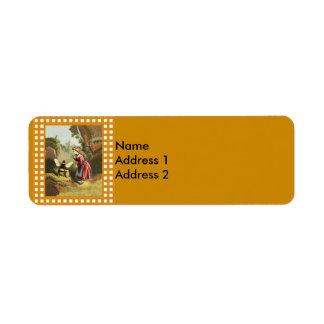 Vintage Bee Little Girl Honey Pot Return Address Label