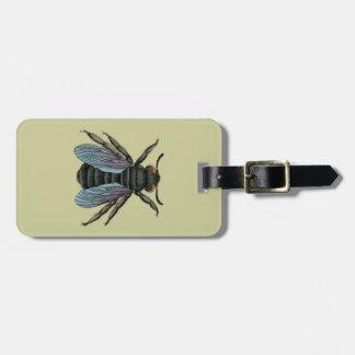 vintage bee luggage tag