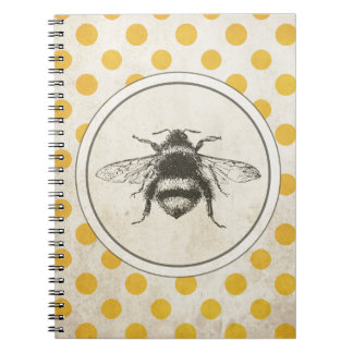 Vintage Bee on Yellow Dots Notebooks