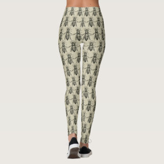 Vintage Bee Pattern Women's Leggings