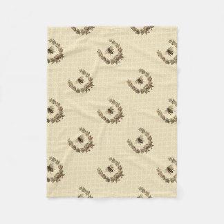 Vintage Bee Wreath Fleece Blanket