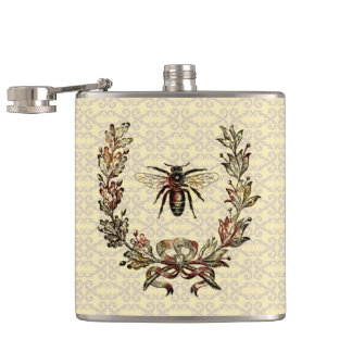 Vintage Bee Wreath Hip Flask
