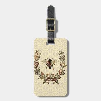 Vintage Bee Wreath Luggage Tag