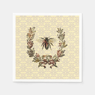 Vintage Bee Wreath Paper Napkin