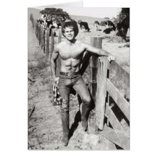 Vintage Beefcake Cowboy Card